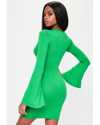 Missguided - Green Flared Sleeve Bodycon Dress - Lyst