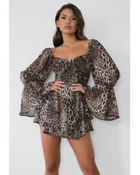 Missguided Brown Leopard Print Overlay Milkmaid Playsuit