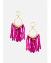 Missguided - Metallic Gold Drop Hoop Pink Sequin Tassel Earrings - Lyst