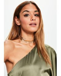 Missguided | Metallic Gold Chainmail Choker Necklace | Lyst