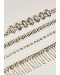 Missguided - Metallic Silver Multi Chain Choker Necklace Pack - Lyst