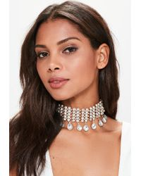 Missguided - Metallic Gold Statement Diamond Choker Necklace - Lyst