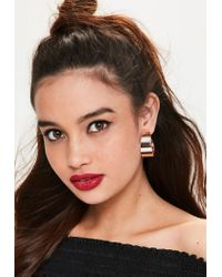 Missguided - Multicolor Rose Gold Statement Hoop Earrings - Lyst