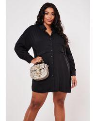 Missguided Size Black Oversized Utility Shirt Dress