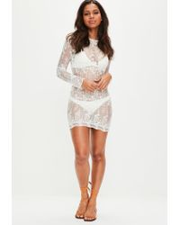 Missguided White Long Sleeve Lace Cover Up