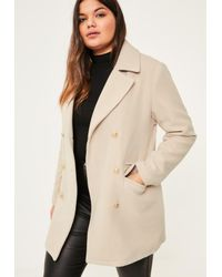 550530bc635de Missguided Plus Size Nude Short Faux Wool Military Coat in Natural ...
