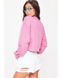 Missguided Pink Romeo Slogan Cropped Sweatshirt