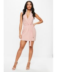 Missguided Pink Sleeveless Stretch Crepe Blazer Dress