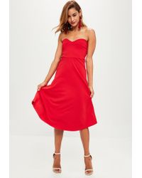 Missguided Red Sweetheart Bandeau Midi Dress