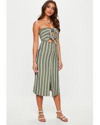 Missguided Multicolor Khaki Tie Front Stripe Midi Dress