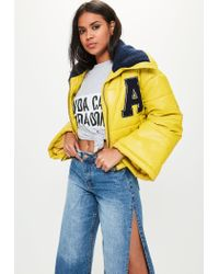 Missguided - Yellow Super Cropped Padded Jacket - Lyst