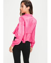 Missguided - Pink Silky Frill Shirt - Lyst
