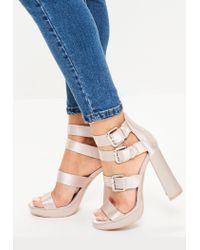 3df4b4b721d6ba Lyst - Missguided Pink Multi Buckle Satin Platform Sandals in Pink
