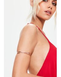 Missguided - Pink Rose Gold Cross Over Arm Cuff - Lyst