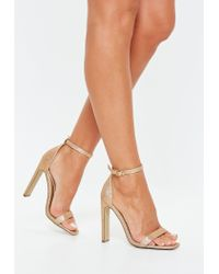 Missguided Metallic Gold Glitter Square Toe Barely There Heels