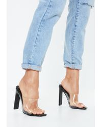 Missguided Black Patent Square Toe Clear Heels