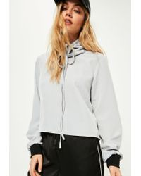 Missguided - Gray Grey Hammered Satin Cowl Neck Blouse - Lyst
