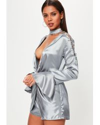Missguided - Gray Grey 2 Piece Choker Lace Up Sleeve Satin Romper - Lyst