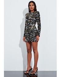 Missguided Black Animal Print Embellished Cut Out Mini Dress
