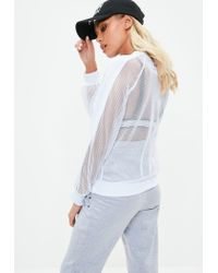 Missguided Active White Fishnet Scuba Sweater