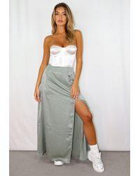 Missguided Green Sage Polka Dot Satin Split Maxi Skirt