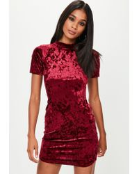 f4b3c0aad15e Lyst - Missguided Red High Neck Velvet Dress in Red