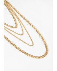 Missguided - Metallic Gold Layered Chain Necklace - Lyst