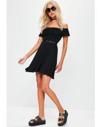 Missguided - Black Bardot Skater Dress - Lyst