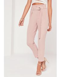 Missguided - Petite Pink Paperbag Waist Cigarette Trousers - Lyst
