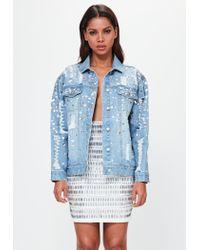 Missguided - Peace + Love Blue Oversized Embellished Denim Jacket - Lyst