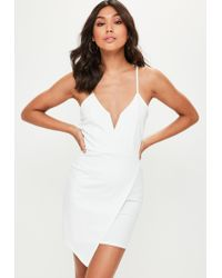 Missguided | White V Bar Strappy Wrap Over Bodycon Dress | Lyst