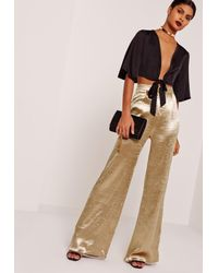 Missguided Metallic Satin Wide Leg Trousers Gold
