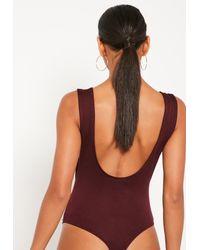 Missguided Purple Scoop Back Bodysuit