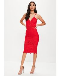 Missguided - Red Lace Ladder Detail Midi Dress - Lyst