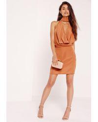 Missguided Brown Silky Choker Neck Cowl Shift Dress Tan