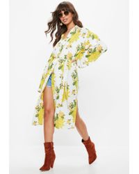 Missguided - Yellow Floral Jacket - Lyst