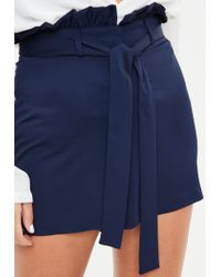 Missguided Blue Navy Paperbag Waist Belted Tailored Shorts