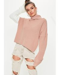 Missguided Natural Tall Nude Colourblock Roll Neck Jumper