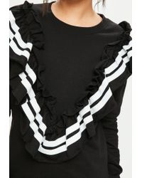 Missguided - Black Frill Front Varsity Sweater Dress - Lyst