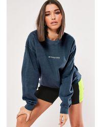 Missguided Blue Slogan Washed Oversized Sweatshirt