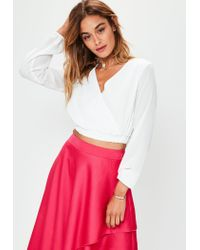 Missguided White Plunge Back Wrap Cropped Blouse
