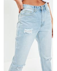 Missguided - Blue Riot Highrise Busted Knee Mom Jeans - Lyst