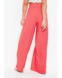 Missguided Pink Coral Extreme Split Belted Wide Leg Pants