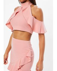 Missguided - Petite Pink Frill Top - Lyst