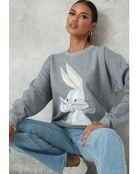 Missguided Gray Looney Tunes Bugs Bunny Graphic Sweatshirt