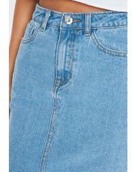 Missguided Blue Denim Split Front Midi Skirt