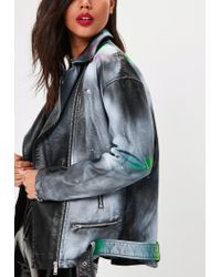 Missguided - Black Faux Leather Spray Paint Jacket - Lyst