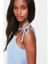 Missguided Blue Tie Strap Cami Shift Dress