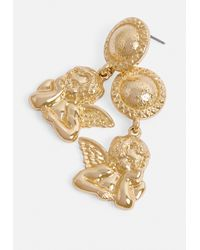 Missguided Metallic Gold Look Drop Cherub Earrings