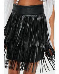 Missguided Tall Black Tassel Faux Leather Mini Skirt